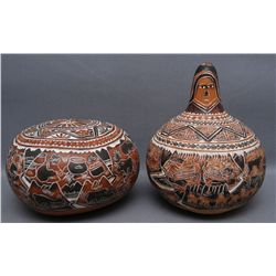TWO MEXICAN GOURDS   (FREE SHIPPING THIS AUCTION ONLY!!!)