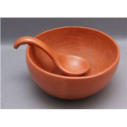 HOPI POTTERY CHILI BOWL AND LADLE   (FREE SHIPPING THIS AUCTION ONLY!!!)