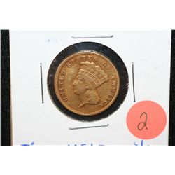 1874 Indian Princess $3 Gold Coin, VF+ Details, Ding
