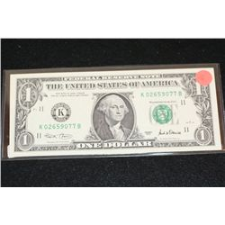 2001 US Federal Reserve Note $1; Dallas Tx Reserve