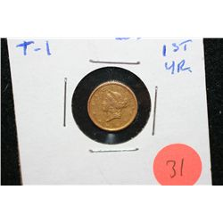 1849 Liberty $1 Gold Coin, T-1, 1st Year, XF