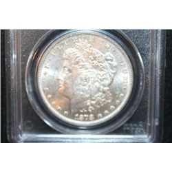 1878 Silver Morgan $1, 7/8 Tailfeathers, PCGS Graded MS62 Weak
