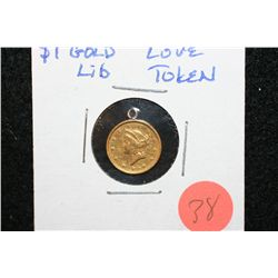 "$1 Liberty Gold Coin ""Love Token"" w/Jewelry Loop"