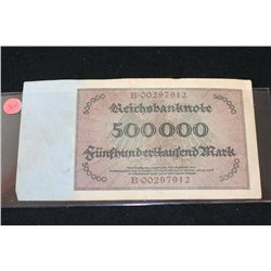 1923 German Funfbunderttaufend Mark Foreign Bank Note