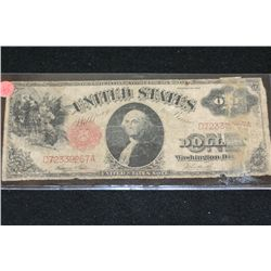 1917 United States Note $1, Red Seal, Large Washington Bill
