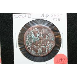 565-578 AD Justin II Ancient Foreign Coin