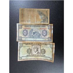 Lot of 3 Haiti and Indonesia Paper Money