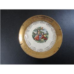 Crest O Gold Warrented 22kt Gold Victorian Scene 7.5  Plate With Holder