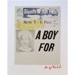 ANDY WARHOL, Signed Print, A Boy for Meg
