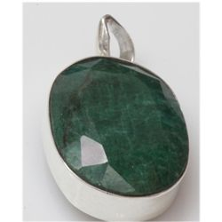 Natural 15.14 g Emerald Oval .925 Sterling Pendant