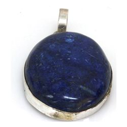 Natural 122.16 ctw Lapis Oval .925 Sterling Pendant