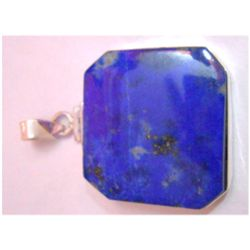 Natural Lapis Square .925 Sterling Silver Pendant