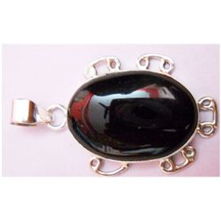 Natural 5.38g Black Onex Oval .925 Sterling Pendant