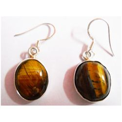 Natural 5.54g Tiger Oval .925 Sterling Silver Earrings