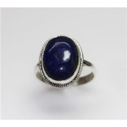 NATURAL 4.17 GRAMS LAPIS ROUND RING .925 STERLING SILVE