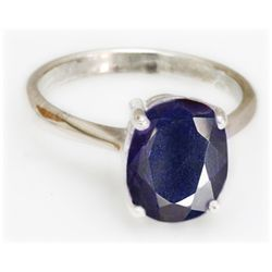 Natural 3 ctw Sapphire Oval .925 Sterling Silver Ring