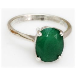 Natural 3.25 ctw Emerald Oval .925 Sterling Silver Ring