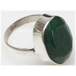 Natural 6.38 g Emerald Oval .925 Sterling Silver Ring