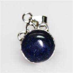NATURAL 4.11 GRAMS LAPIS OVAL PENDANT .925 STERLING SIL