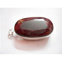 Natural 203 CTW. Ruby Oval Pendant .925 Sterling Silver