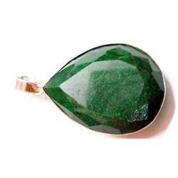 Natural 71.30 CTW. Emerald Pear Cut .925 Sterling Penda