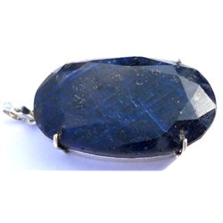 Natural 183.8 ctw Sapphire Oval .925 Sterling Pendant