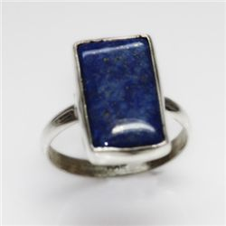 NATURAL 3.73 GRAMS LAPIS EMERALDCUT RING .925 STERLING