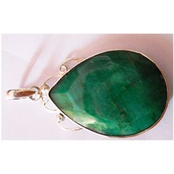 Natural Emerald Pear Cut .925 Sterling Silver Pendant