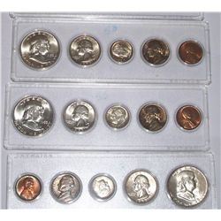 1953 SILVER MINT SET, P,D &S. 15 COINS ALL ORIGINAL..MOVED TO WHITMAN HOLDERS