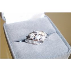 3 Stone Diamond Ring W/Baguettes, 14K White Gold