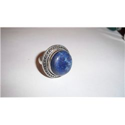 CUSTOM MADE STERLING SILVER GEMSTONE LADIES RING, 14 GRAMS