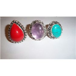 3 CUSTOM MADE STERLING SILVER GEMSTONE LADIES RINGS, 40 GRAMS