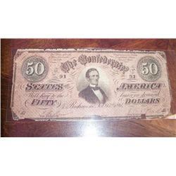 1864 $50 CSA CONFEDERATE CIVIL WAR CURRENCY