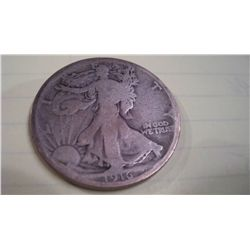 1916 WALKING LIBERTY HALF DOLLAR, VG