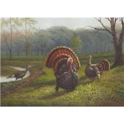 5 x 7 Oil on Board ~Turkeys in Forest~ Signed W.Ceruti