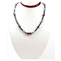 Natural  161.43 ctw Emerald Ruby Sapphire Bead Necklace