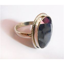 Natural 32.20 ctw Sapphire Oval Ring .925 Sterling