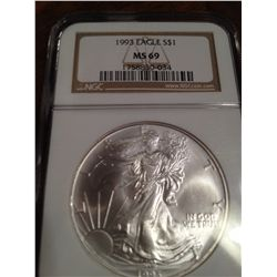 1993 Pure Silver Eagle NGC MS-69