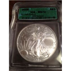 2005 PURE SILVER AMERICAN EAGLE, MS-70-HIGHEST POSSIBLE GRADE