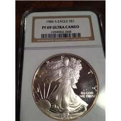 1986-S PURE SILVER AMERICAN EAGLE, NGC PF-69 ULTRA CAMEO