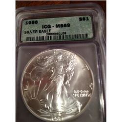 1986 PURE SILVER AMERICAN EAGLE, MS-69