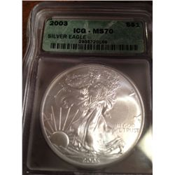 2003 PURE SILVER AMERICAN EAGLE, MS-70-HIGHEST POSSIBLE GRADE