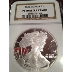2005-W PURE SILVER AMERICAN EAGLE, NGC PROOF-70-HIGHEST POSSIBLE GRADE