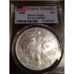 2005 PURE SILVER AMERICAN EAGLE, PCGS MS-69 FIRST STRIKE