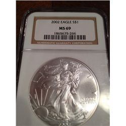 2005 PURE SILVER AMERICAN EAGLE, NGC MS-69