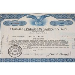 Sterling Precision Corp. Stock Certificate dated 1963