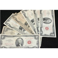 1963 United States Note $2, Red Seal, lot of 10