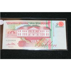 1996 Suriname Foreign Bank Note 10 Gulden