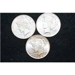 1922-S, 1923 & 1924 Peace $1, lot of 3