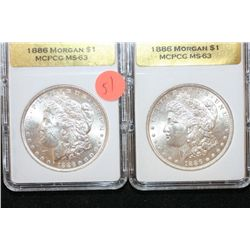 1886 Silver Morgan $1, MCPCG Graded MS63, lot of 2